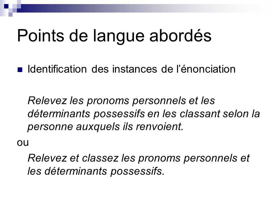 Points de langue abordés
