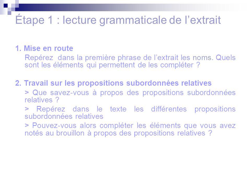 Étape 1 : lecture grammaticale de l'extrait