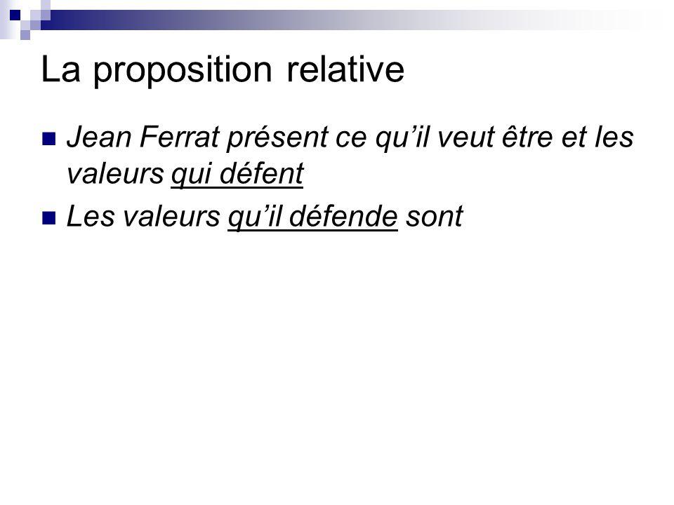La proposition relative