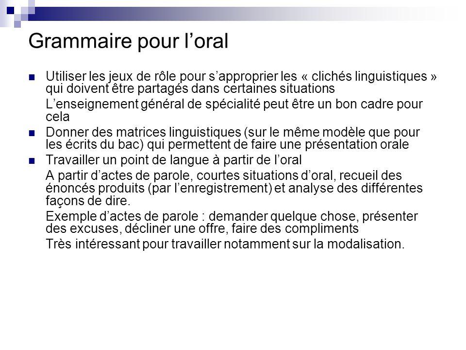 Grammaire pour l'oral Utiliser les jeux de rôle pour s'approprier les « clichés linguistiques » qui doivent être partagés dans certaines situations.