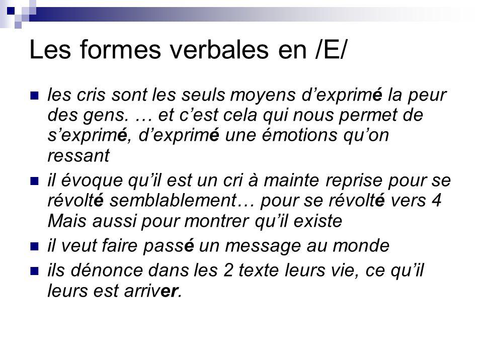 Les formes verbales en /E/