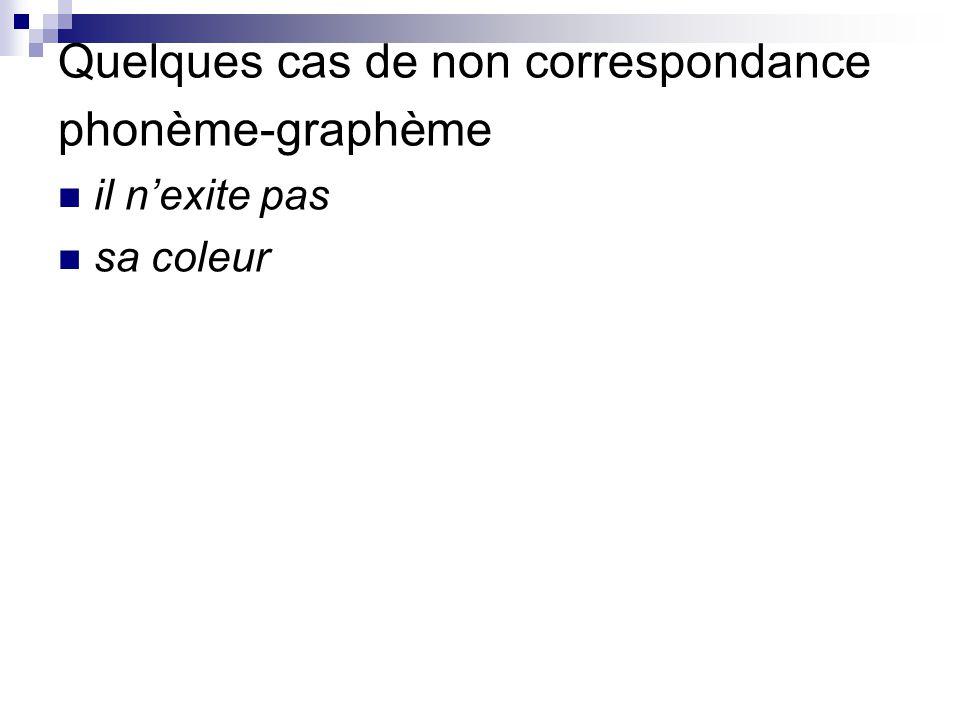 Quelques cas de non correspondance phonème-graphème