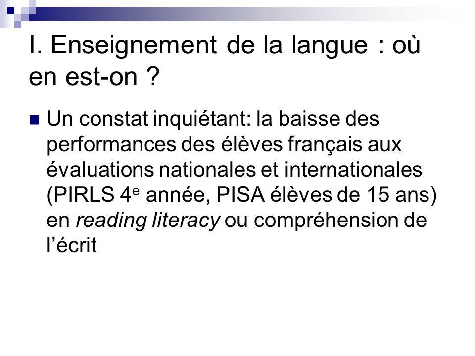 I. Enseignement de la langue : où en est-on