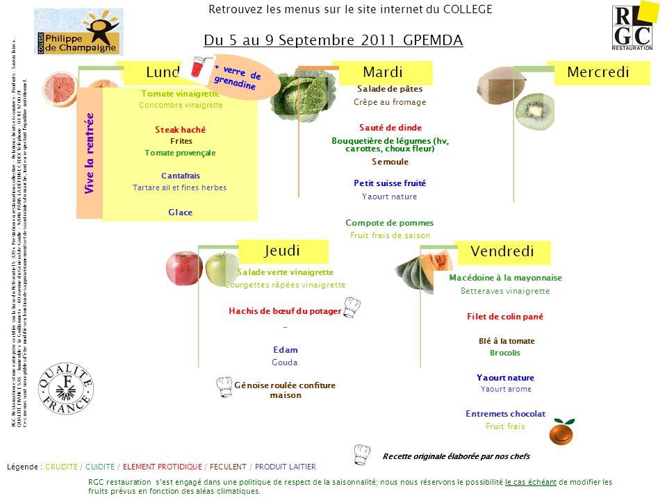 Du 5 au 9 Septembre 2011 GPEMDA Vive la rentrée + verre de grenadine