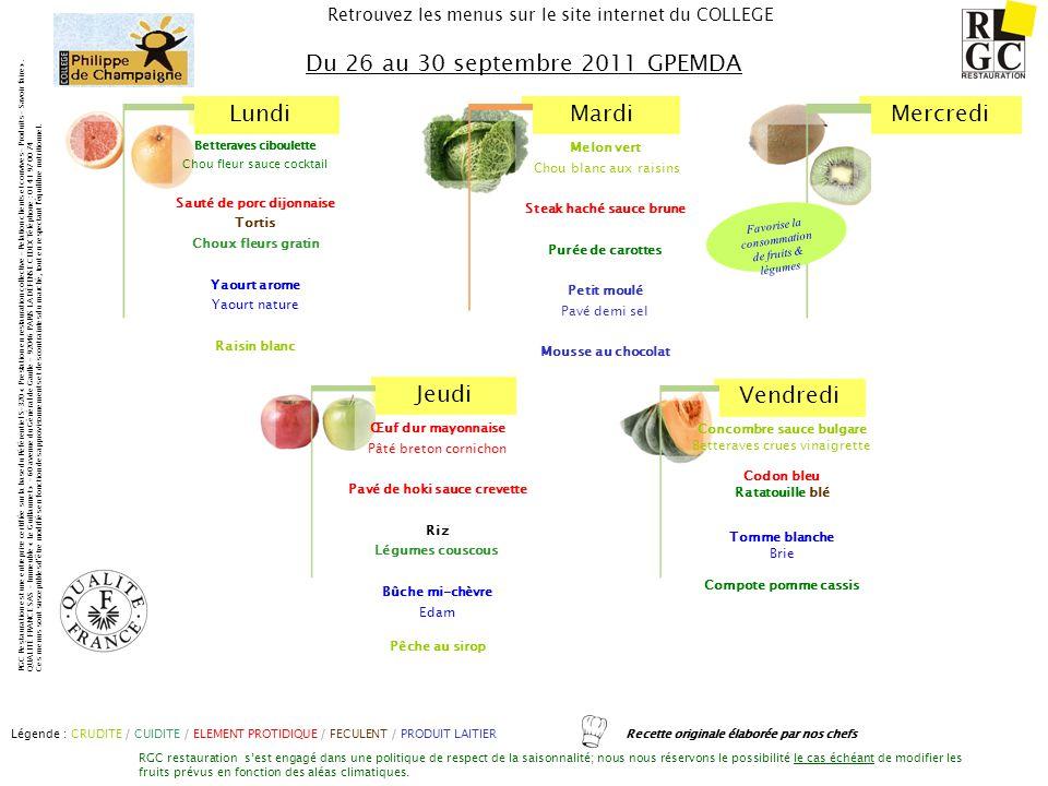 Du 26 au 30 septembre 2011 GPEMDA Sauté de porc dijonnaise Tortis