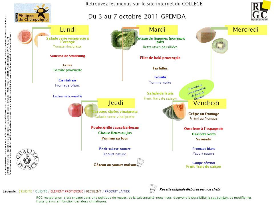 Du 3 au 7 octobre 2011 GPEMDA Salade verte vinaigrette à l'orange