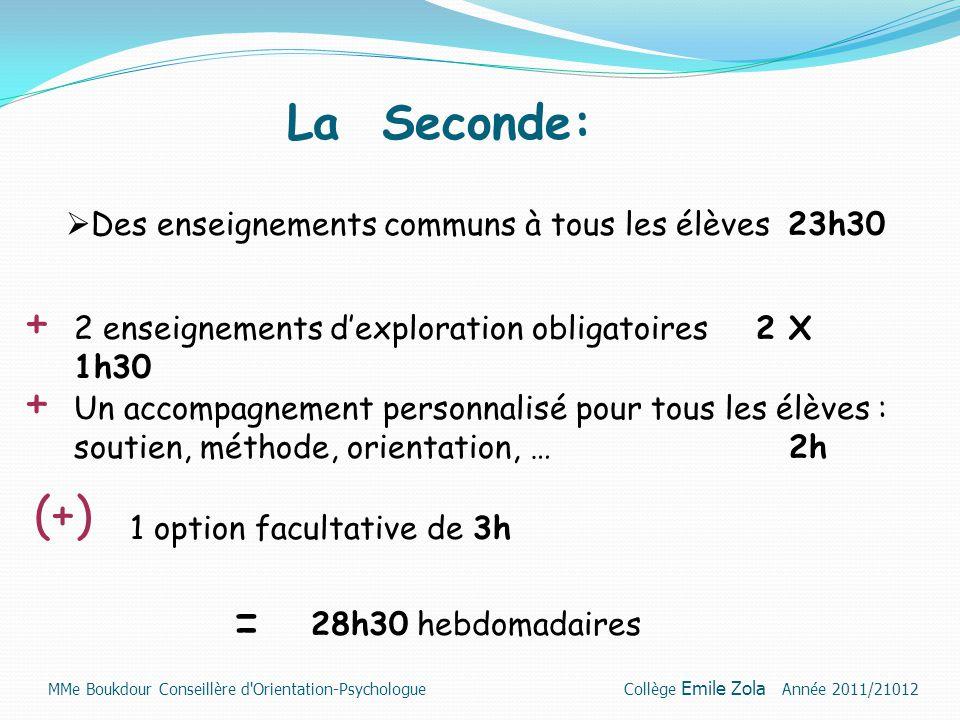 La Seconde: Des enseignements communs à tous les élèves 23h30. + 2 enseignements d'exploration obligatoires 2 X 1h30.