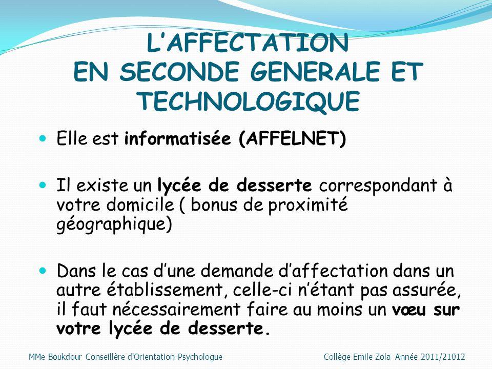 L'AFFECTATION EN SECONDE GENERALE ET TECHNOLOGIQUE