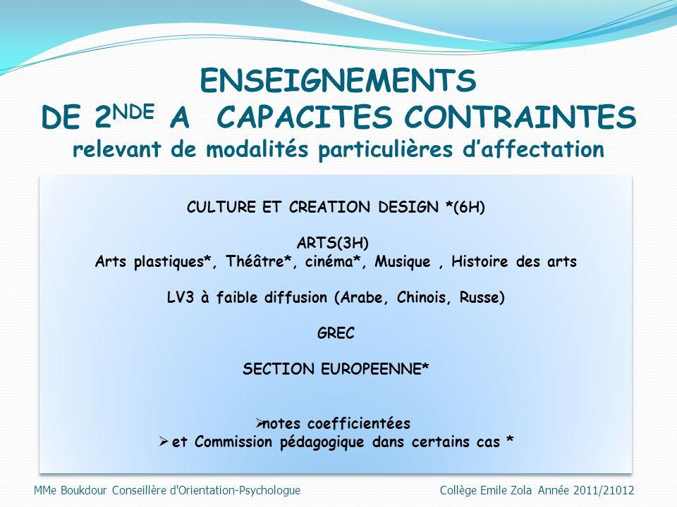 ENSEIGNEMENTS DE 2NDE A CAPACITES CONTRAINTES relevant de modalités particulières d'affectation