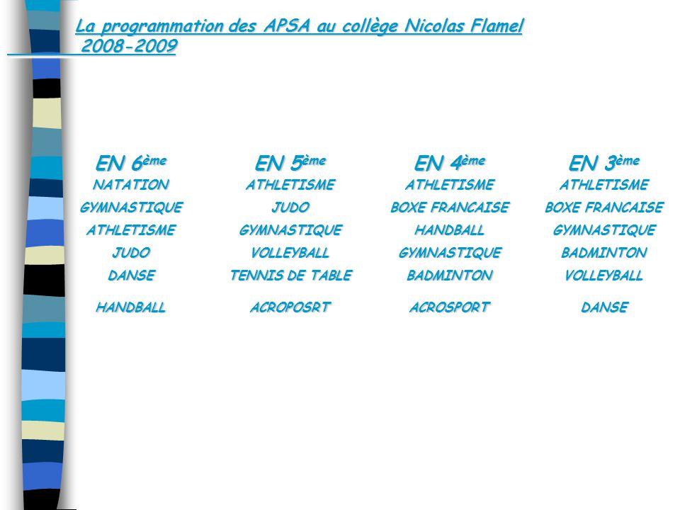 La programmation des APSA au collège Nicolas Flamel 2008-2009