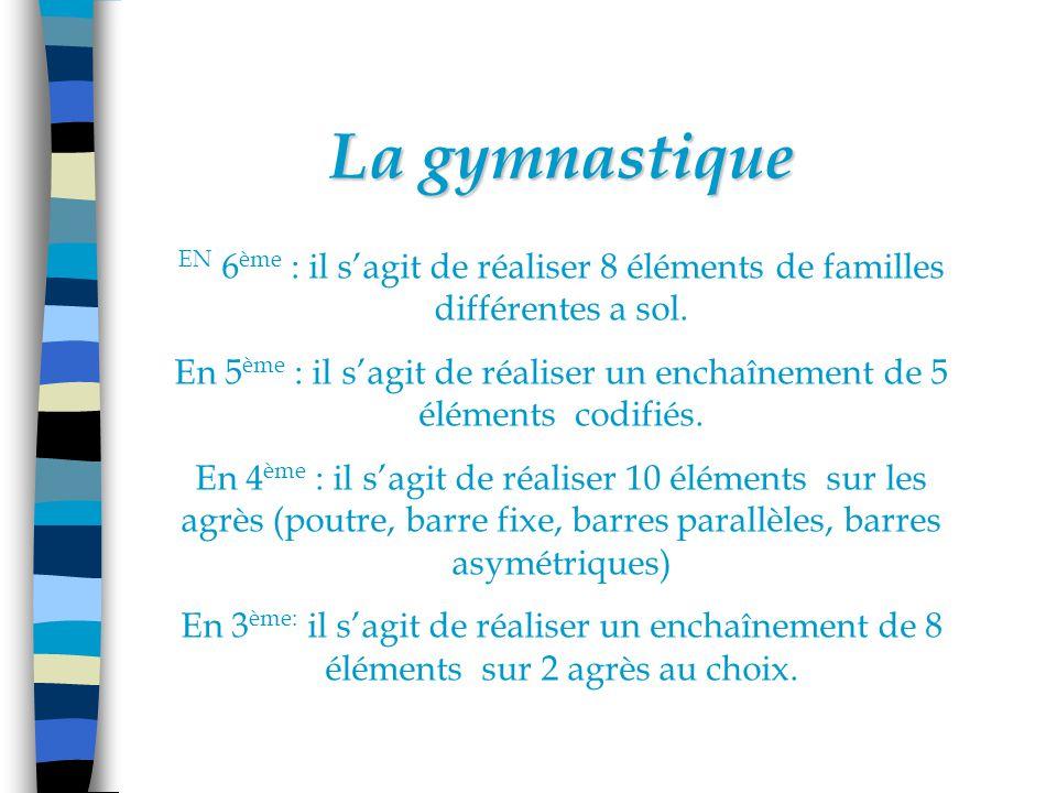 La gymnastique EN 6ème : il s'agit de réaliser 8 éléments de familles différentes a sol.