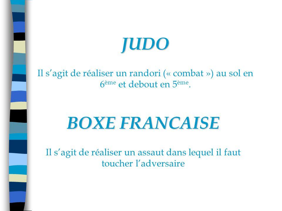 JUDO Il s'agit de réaliser un randori (« combat ») au sol en 6ème et debout en 5ème. BOXE FRANCAISE.