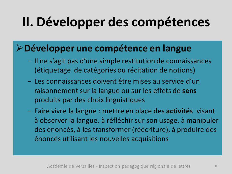 II. Développer des compétences