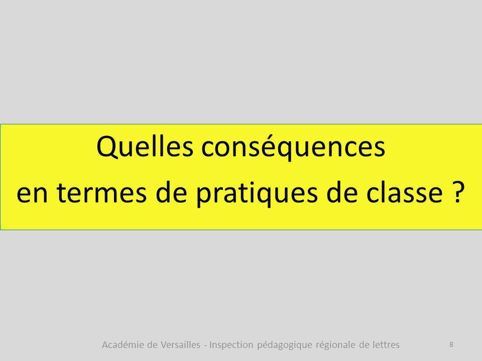 Quelles conséquences en termes de pratiques de classe
