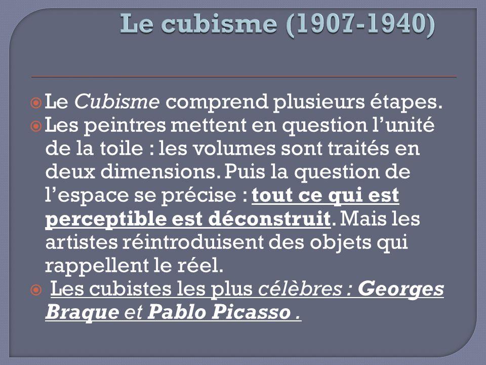 Le cubisme (1907-1940) Le Cubisme comprend plusieurs étapes.