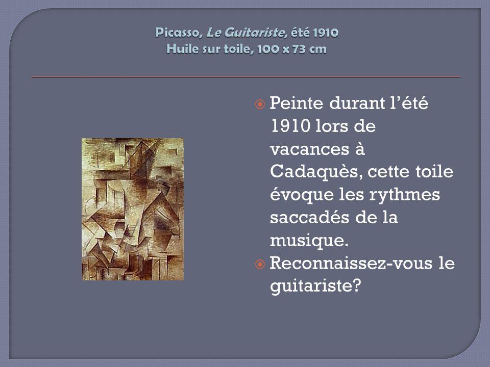 Picasso, Le Guitariste, été 1910 Huile sur toile, 100 x 73 cm