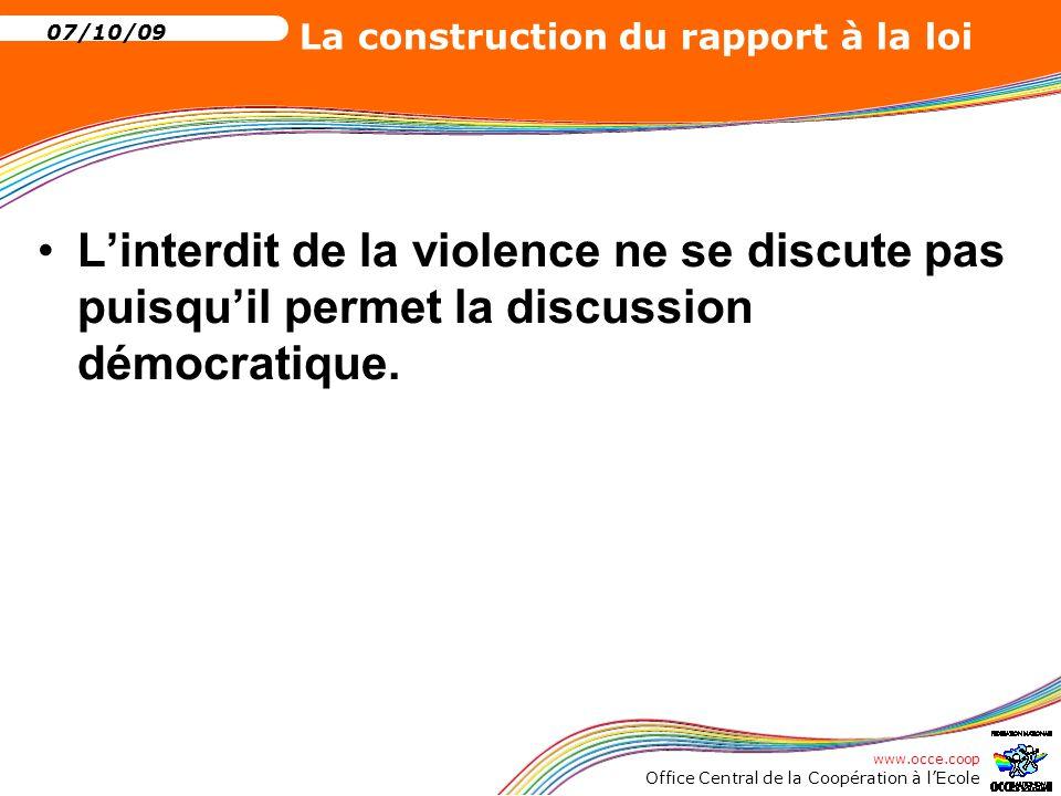 L'interdit de la violence ne se discute pas puisqu'il permet la discussion démocratique.