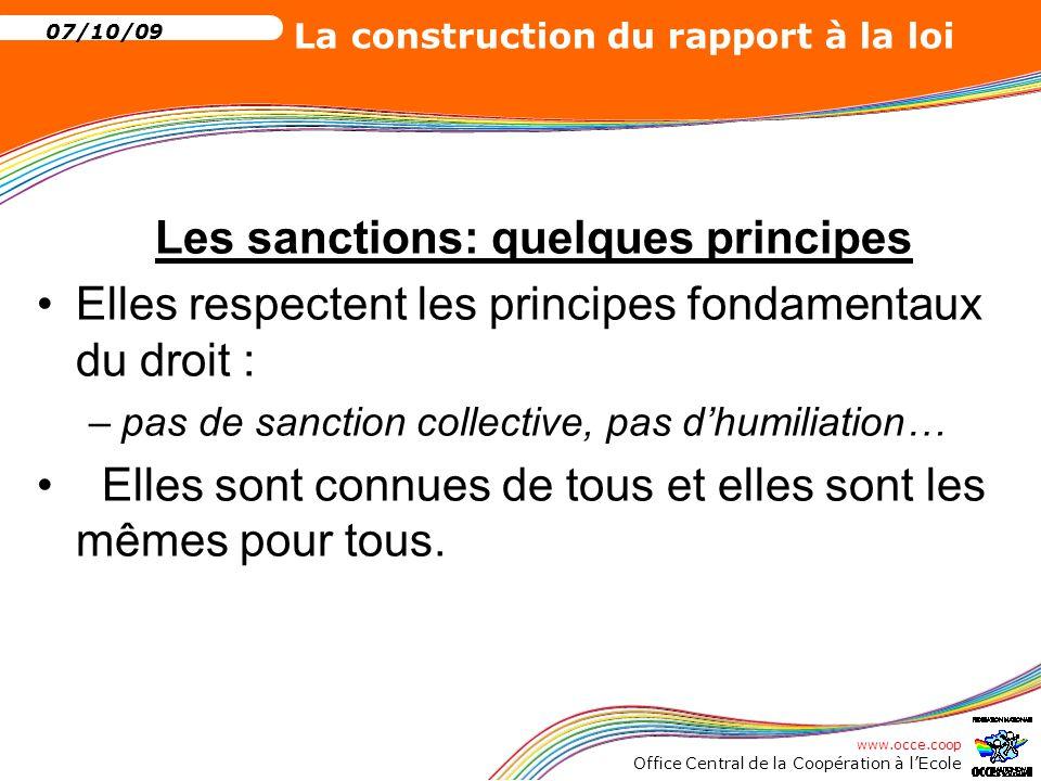 Les sanctions: quelques principes