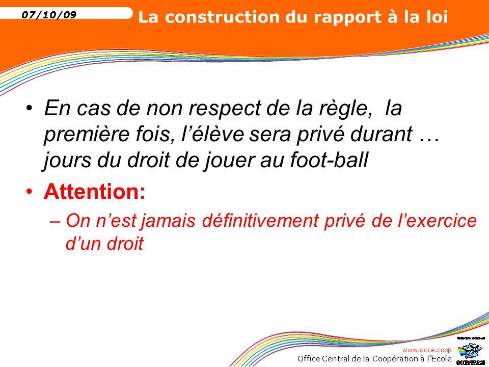 En cas de non respect de la règle, la première fois, l'élève sera privé durant … jours du droit de jouer au foot-ball