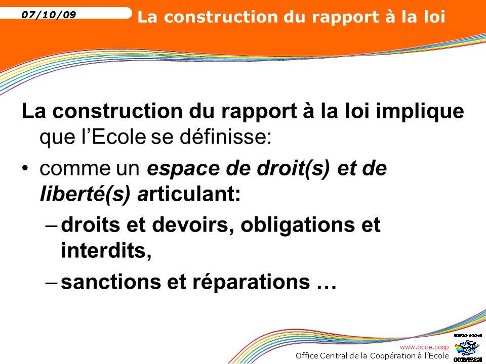 La construction du rapport à la loi implique que l'Ecole se définisse: