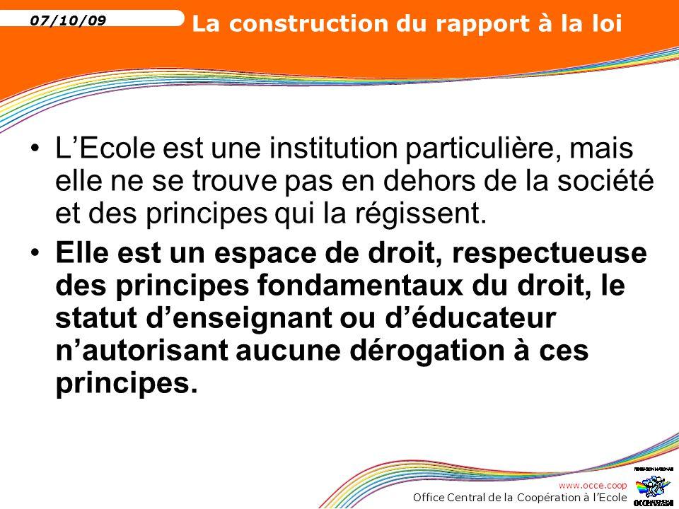 L'Ecole est une institution particulière, mais elle ne se trouve pas en dehors de la société et des principes qui la régissent.