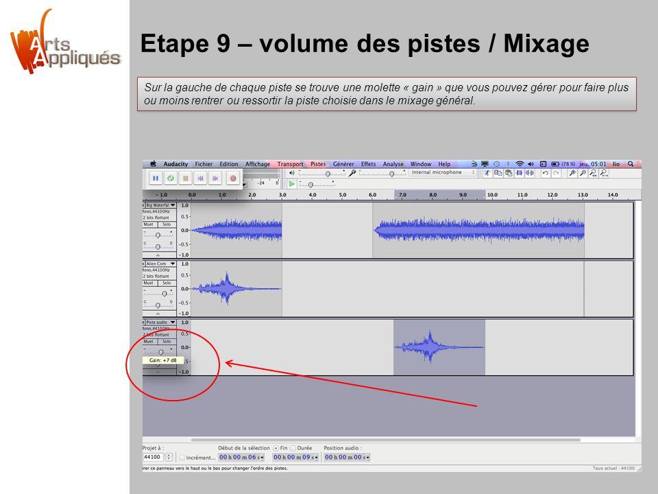 Etape 9 – volume des pistes / Mixage