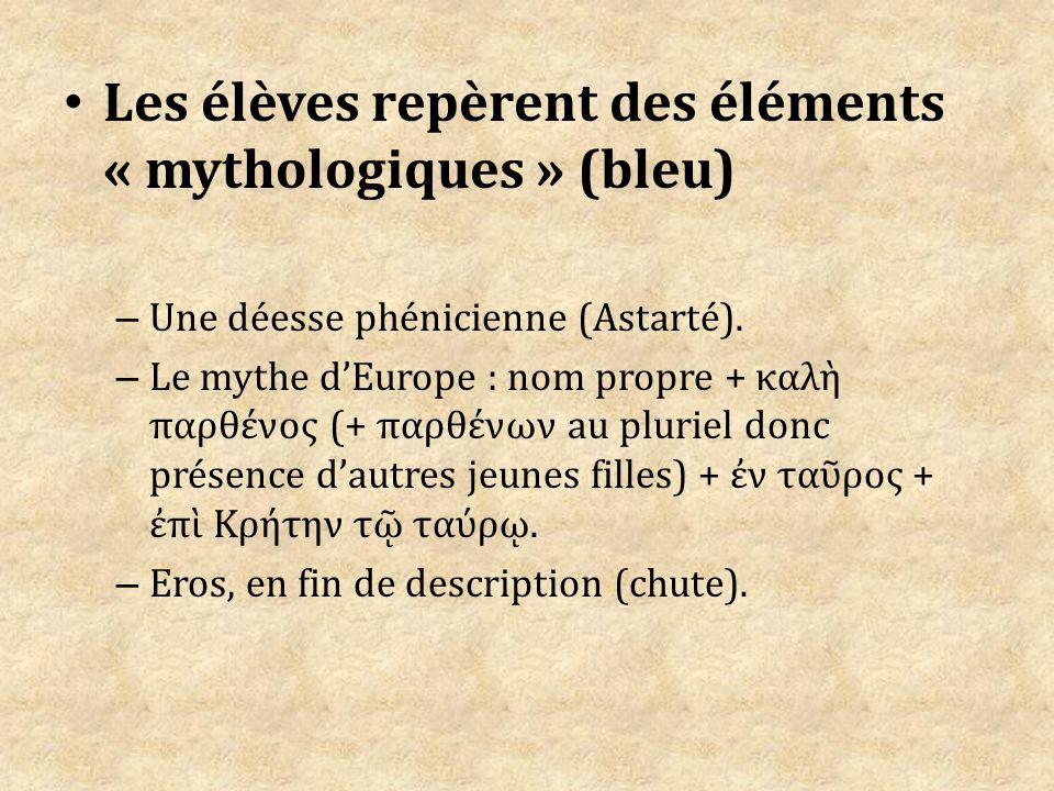 Les élèves repèrent des éléments « mythologiques » (bleu)
