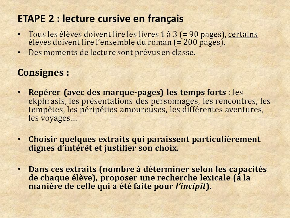ETAPE 2 : lecture cursive en français