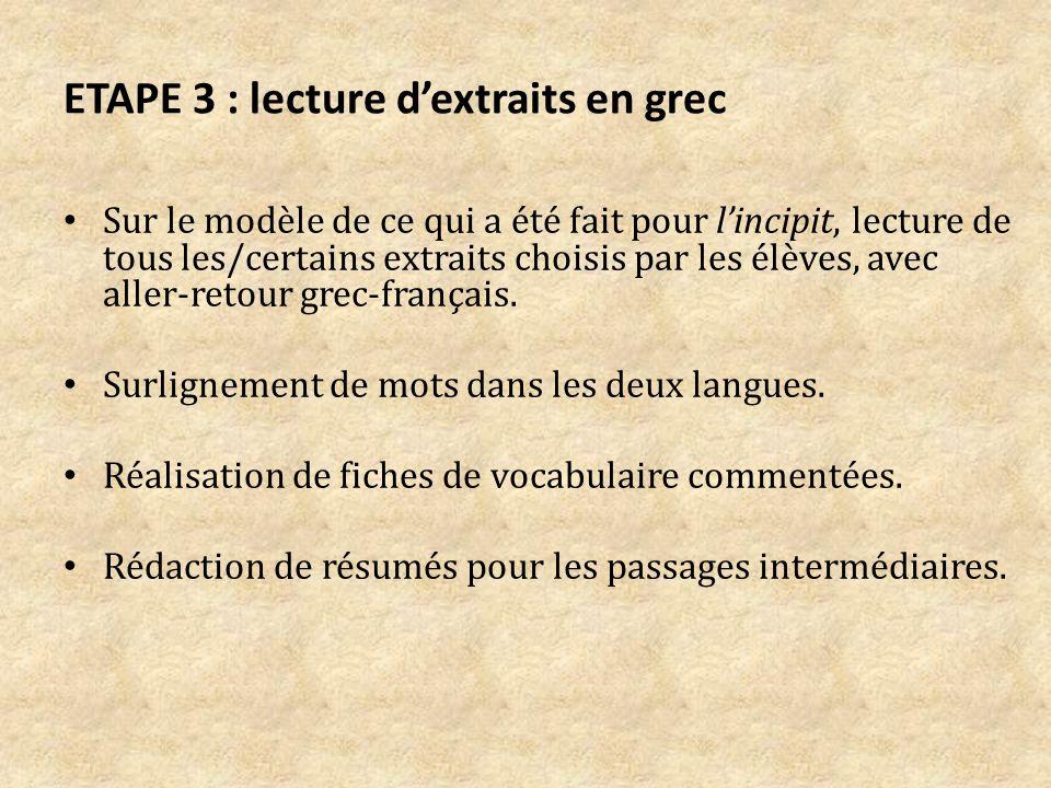 ETAPE 3 : lecture d'extraits en grec