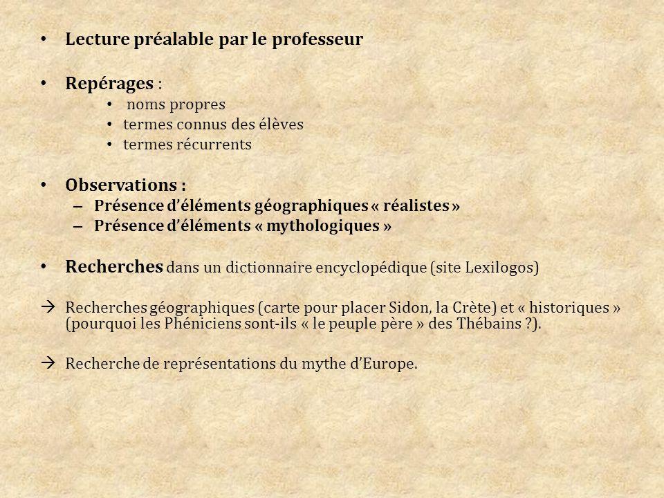 Lecture préalable par le professeur Repérages :