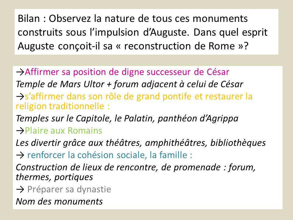 Bilan : Observez la nature de tous ces monuments construits sous l'impulsion d'Auguste. Dans quel esprit Auguste conçoit-il sa « reconstruction de Rome »