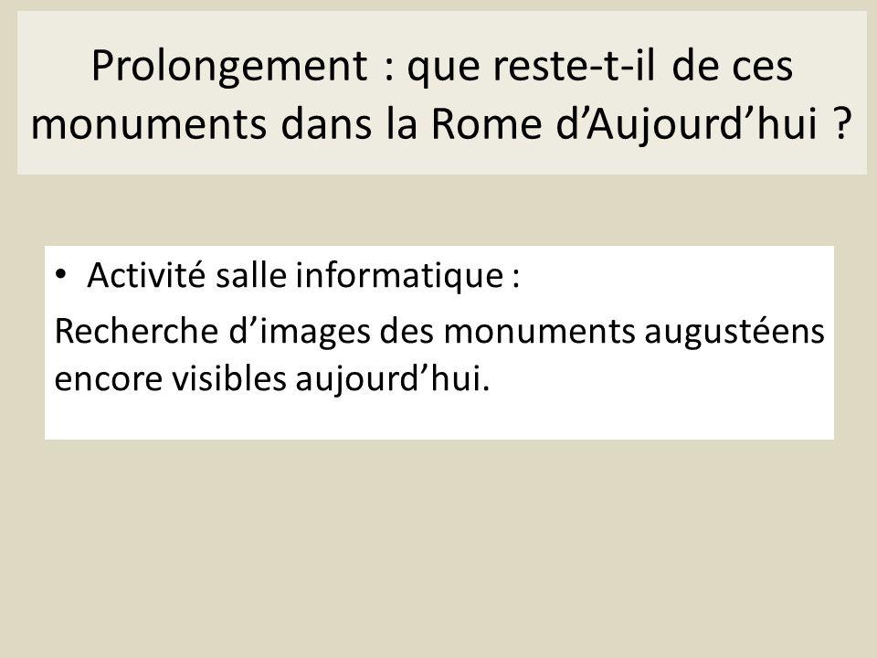 Prolongement : que reste-t-il de ces monuments dans la Rome d'Aujourd'hui