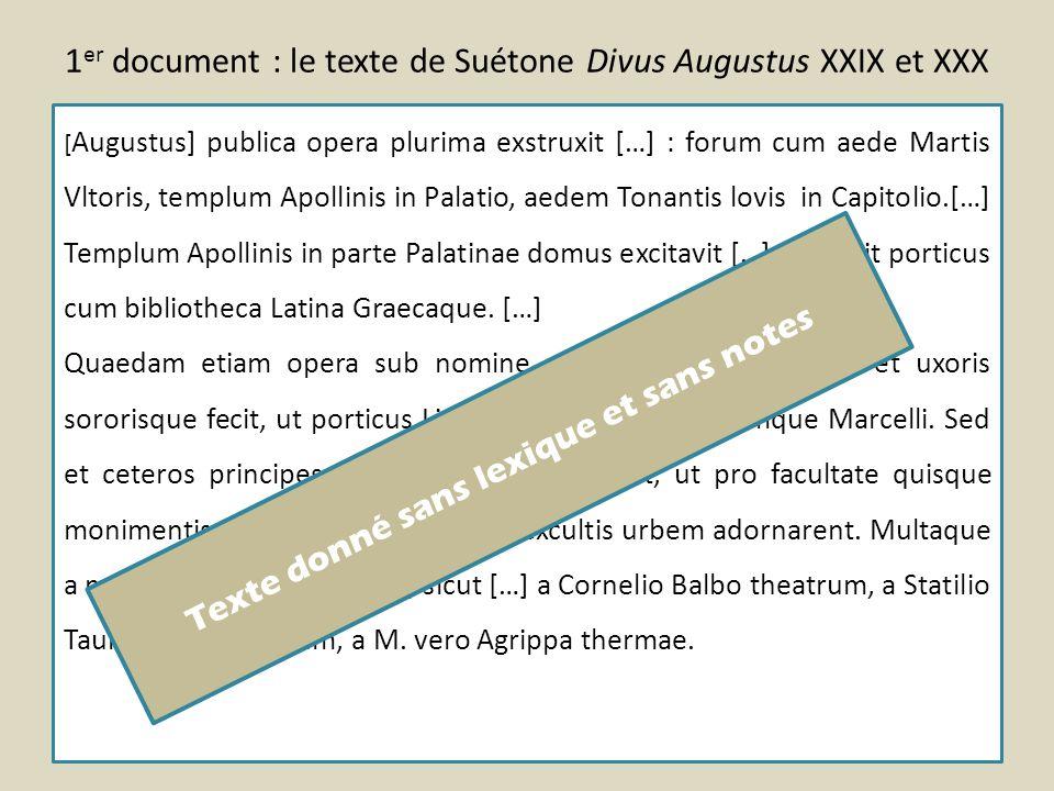1er document : le texte de Suétone Divus Augustus XXIX et XXX