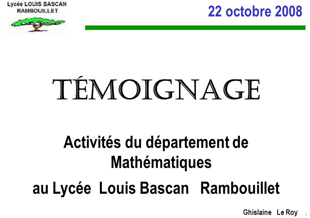 Témoignage Activités du département de Mathématiques