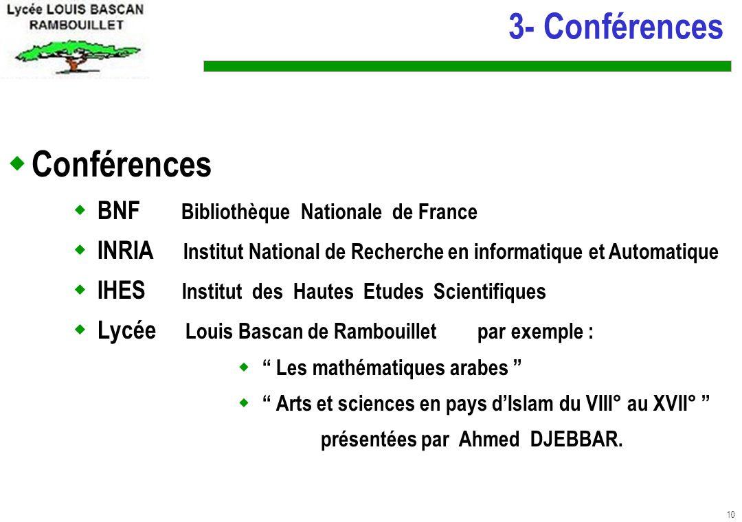 3- Conférences Conférences BNF Bibliothèque Nationale de France