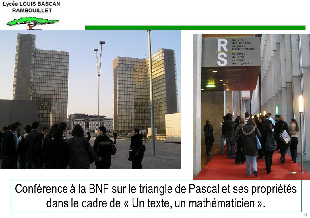 Conférence à la BNF sur le triangle de Pascal et ses propriétés dans le cadre de « Un texte, un mathématicien ».