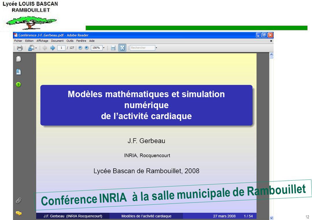 Conférence INRIA à la salle municipale de Rambouillet