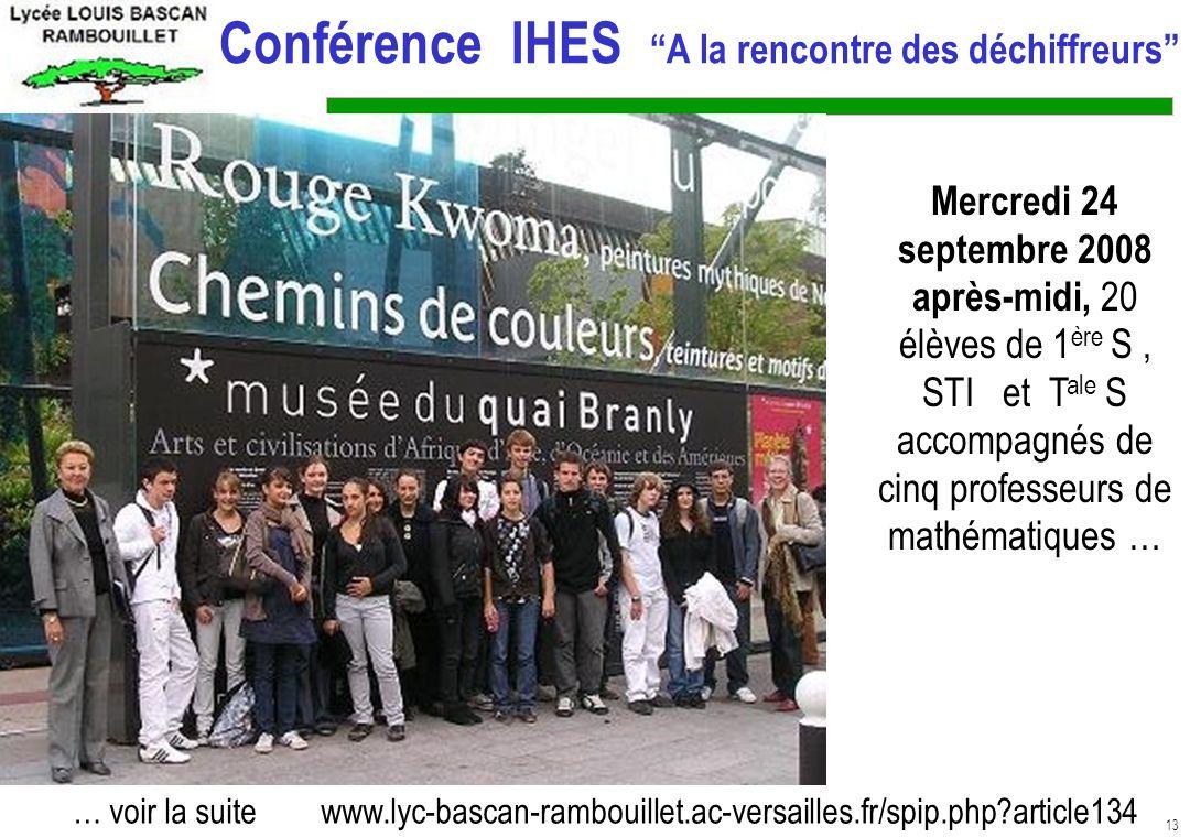 Conférence IHES A la rencontre des déchiffreurs
