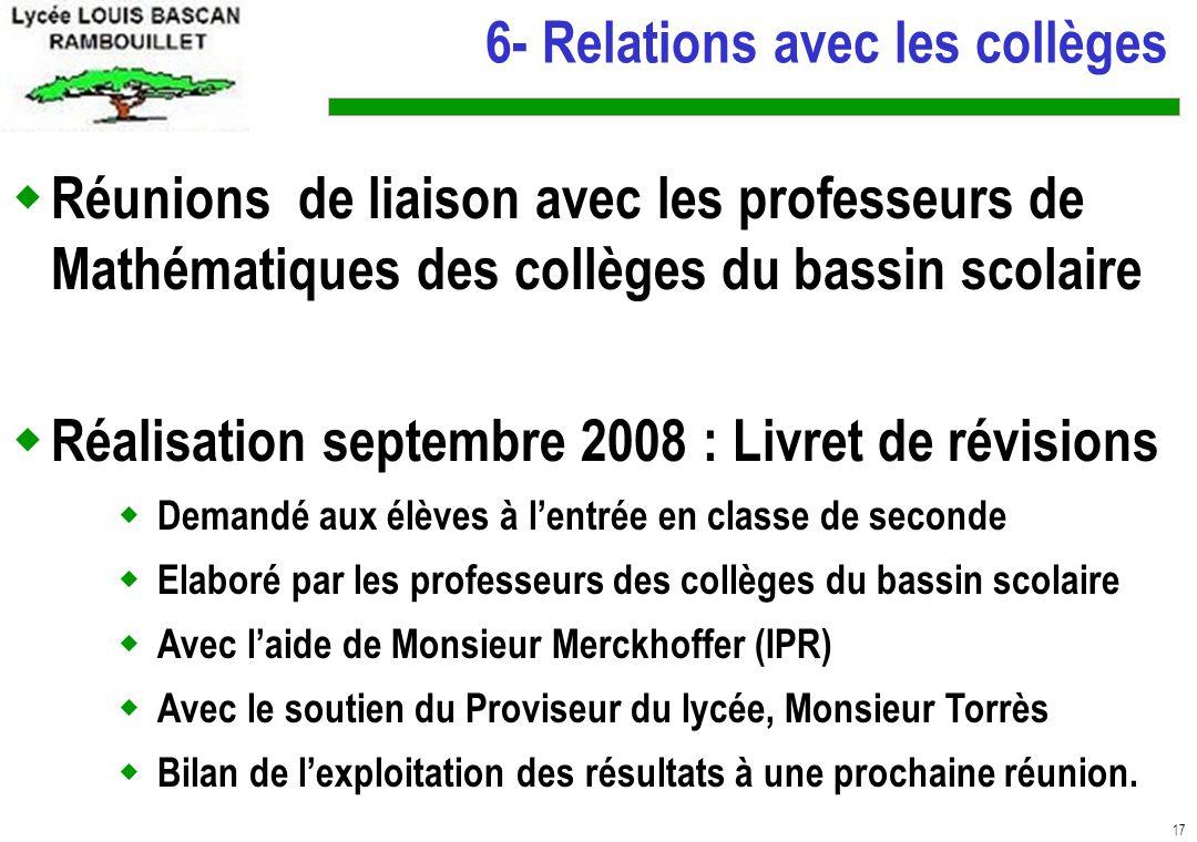 6- Relations avec les collèges