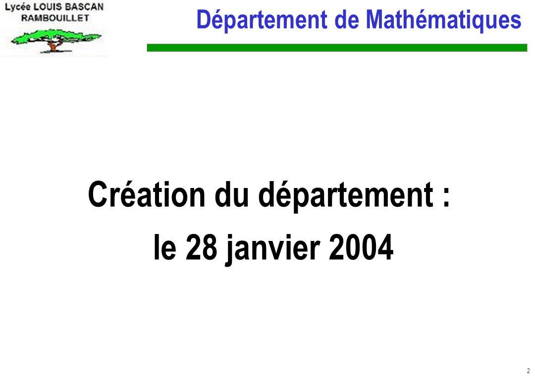 Création du département :