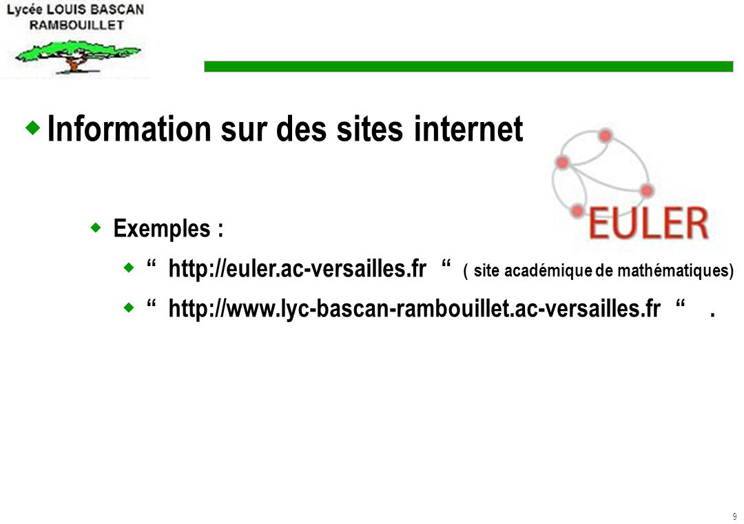 Information sur des sites internet