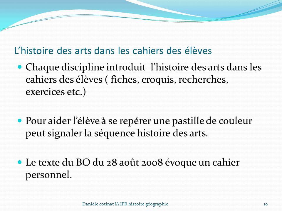 L'histoire des arts dans les cahiers des élèves