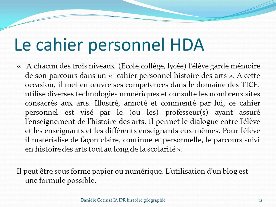 Le cahier personnel HDA