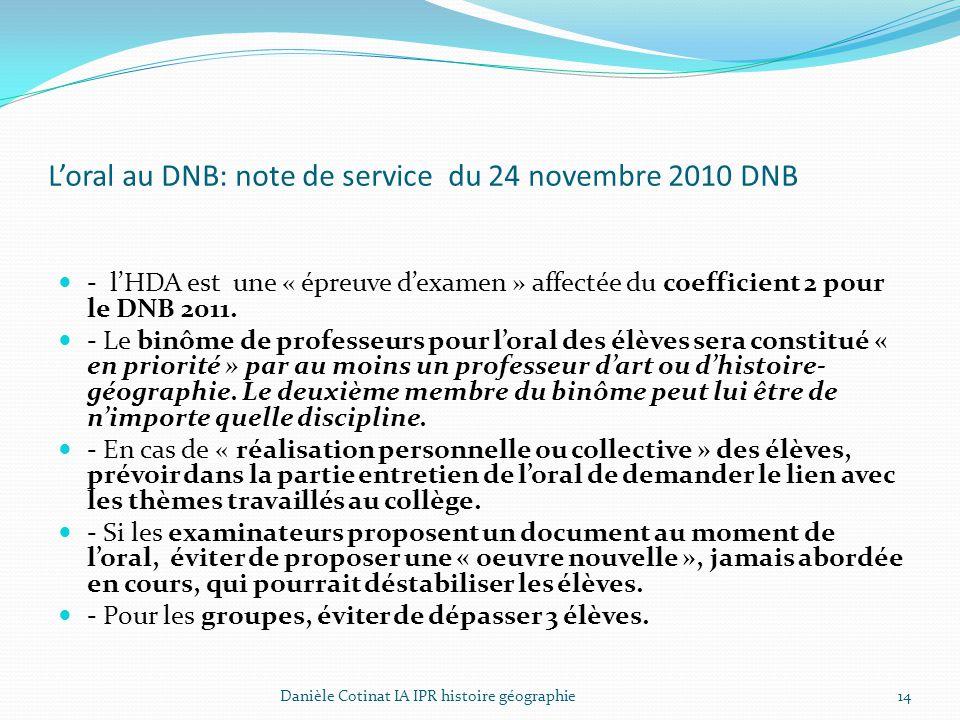 L'oral au DNB: note de service du 24 novembre 2010 DNB
