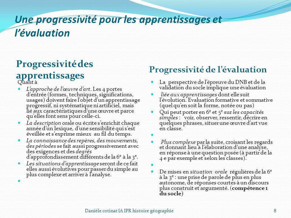 Une progressivité pour les apprentissages et l'évaluation