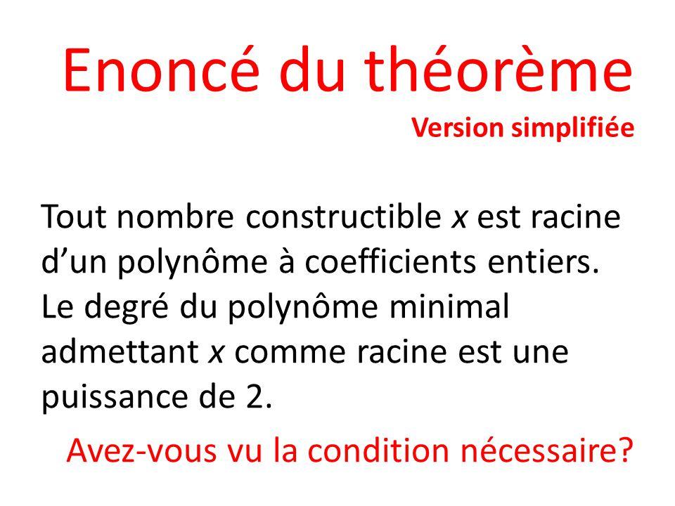 Enoncé du théorème Version simplifiée