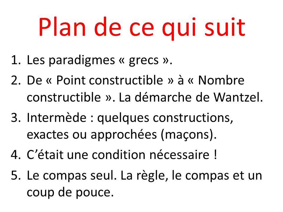 Plan de ce qui suit Les paradigmes « grecs ».