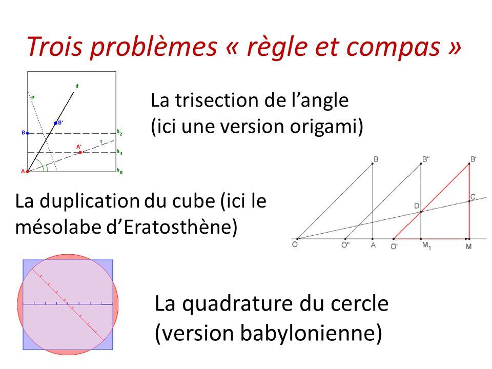 Trois problèmes « règle et compas »