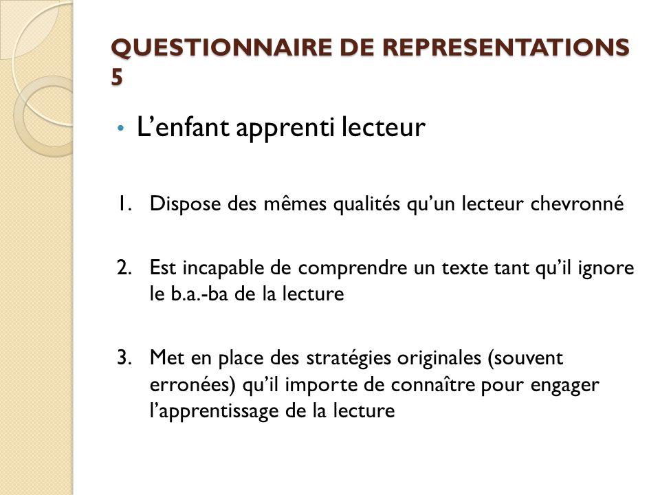 QUESTIONNAIRE DE REPRESENTATIONS 5