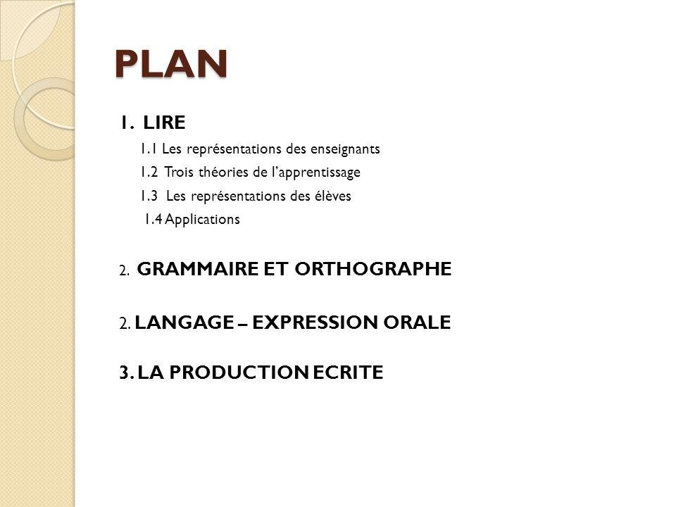 PLAN 1. LIRE 3. LA PRODUCTION ECRITE 2. LANGAGE – EXPRESSION ORALE